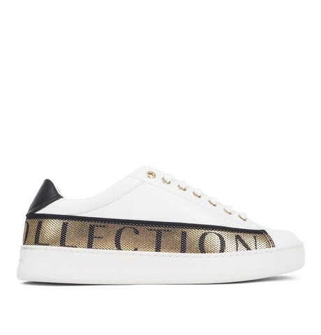 Sneakers with Gold Text White