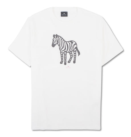 Mens SS Reg Fit T-Shirt Zebra White