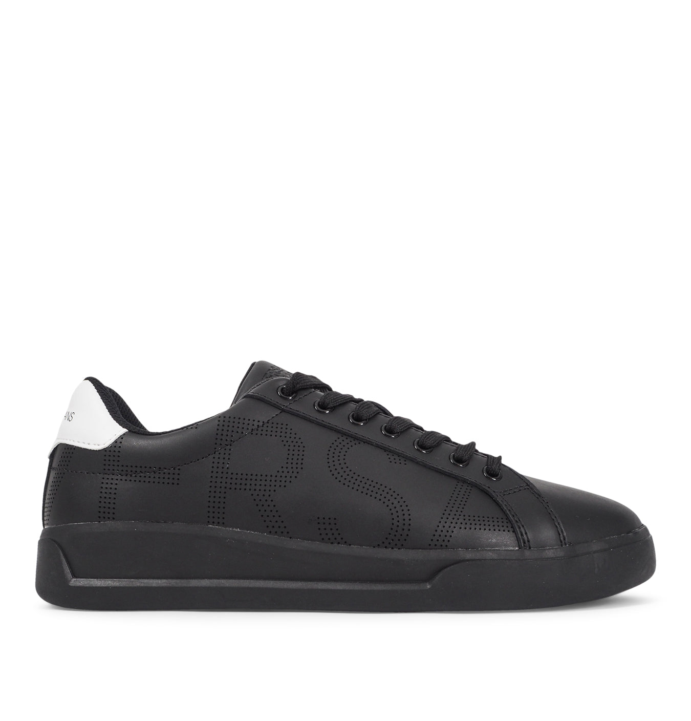 Image of   Leather Pierced Logo Sneakers Black