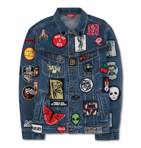 Supreme Patches Trucker Jacket Blue