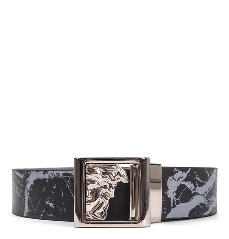 Versace Collection - Black White Marked Sleek Leather Belt