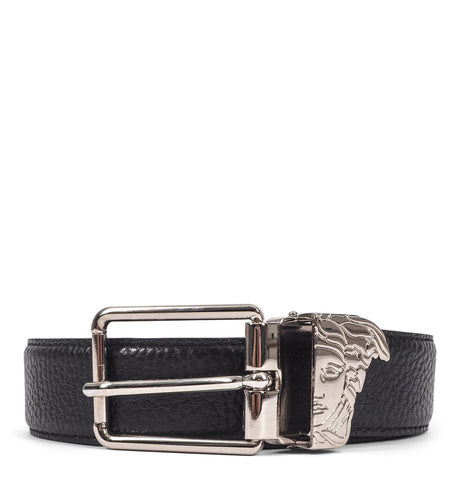 Versace Collection - Black Cintura Rough Leather Belt