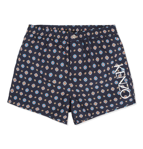 Floral Pattern Swimshorts Dark Blue