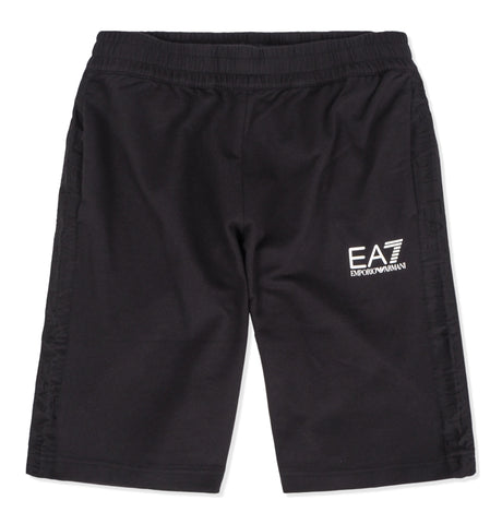 EA7 White Logo Track Shorts Black