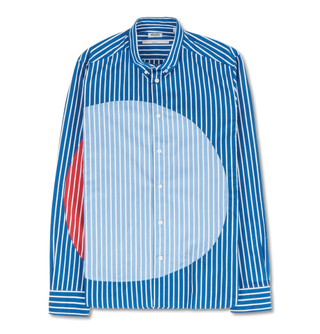 Patched Striped Slim Fit Shirt Blue