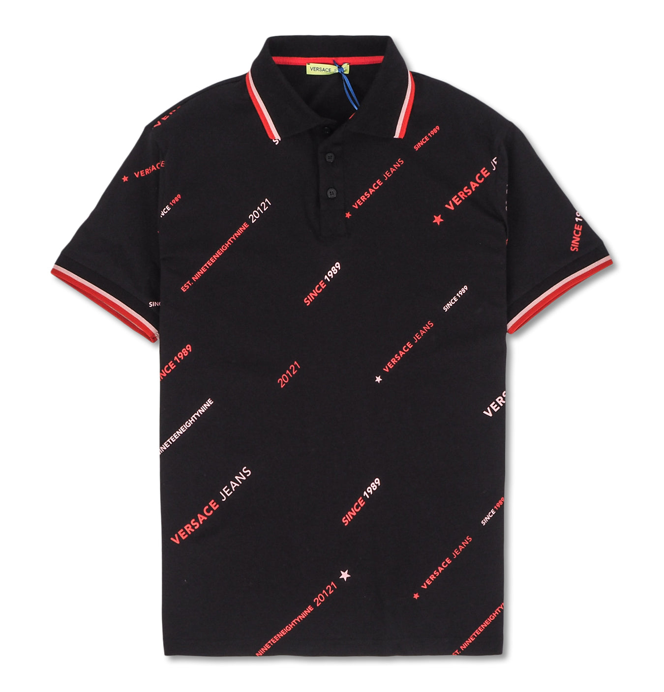 Image of   Red Print Polo Black