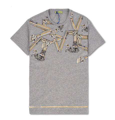Gold Greek Column Print T-Shirt Grey