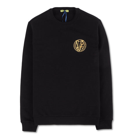 Round Gold Embroidered Sweatshirt Black