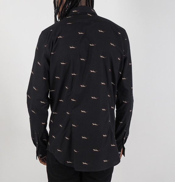 Mens LS Slim Fit Shirt Sharks