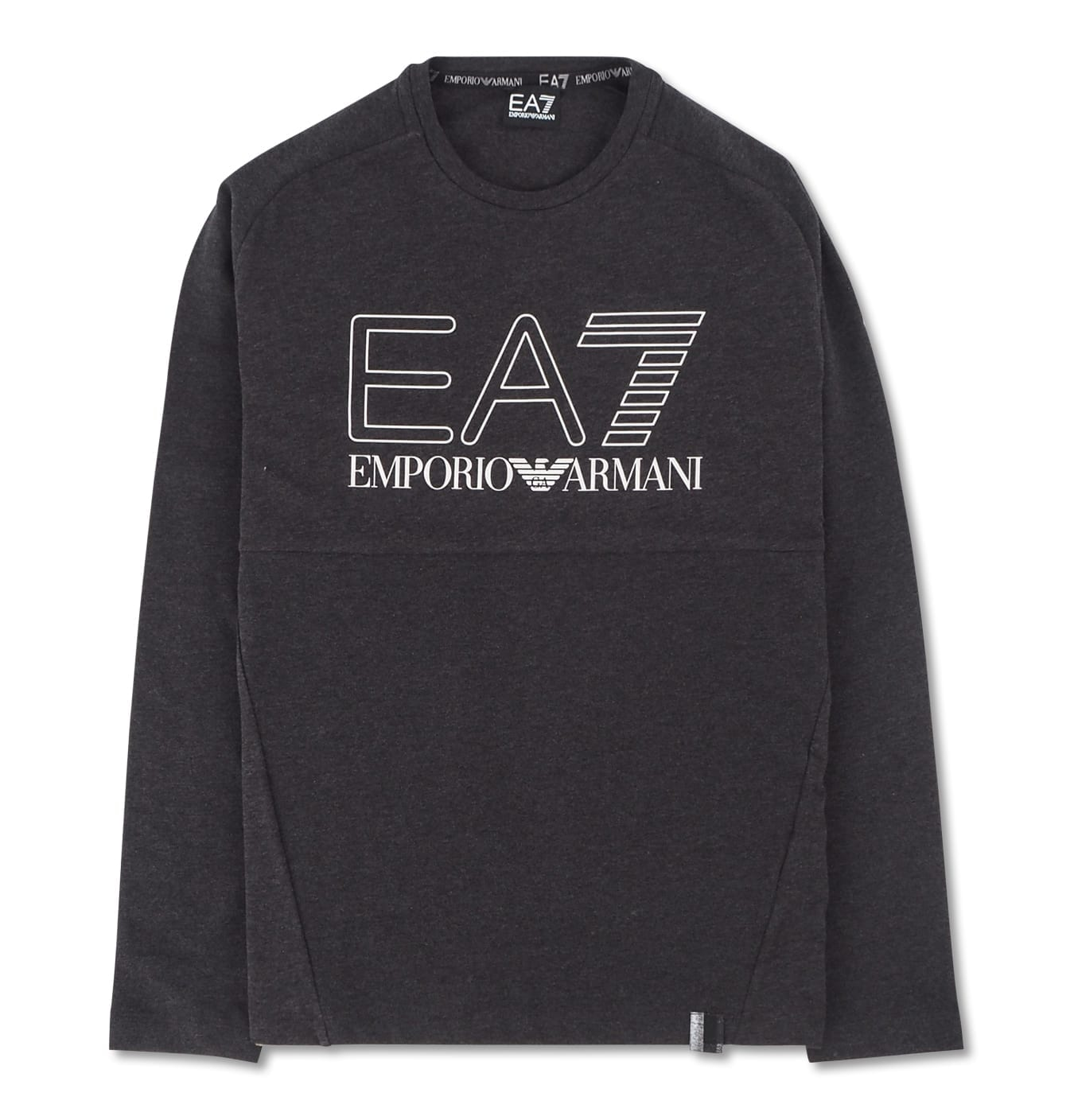 Image of   EA7 Black T-Shirt Logo Silver Outline