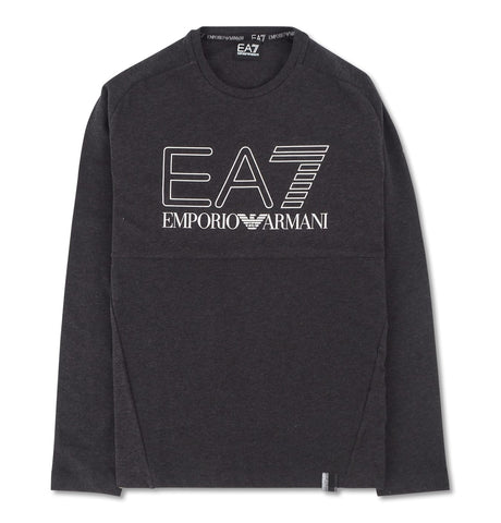 EA7 Black T-Shirt Logo Silver Outline