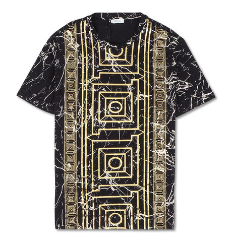 T-Shirt Black Marble Gold Print