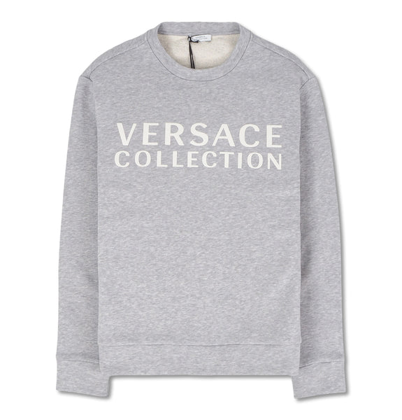 Versace Collection - Grey Sweatshirt with White Logo Print