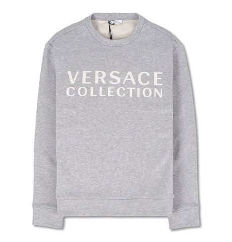 Grey Sweatshirt with White Logo Print