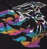 Versace Collection - Shiny Multicolored Print Polo Black