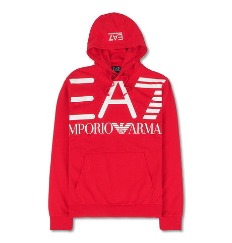 Hoodie with White Logo Red