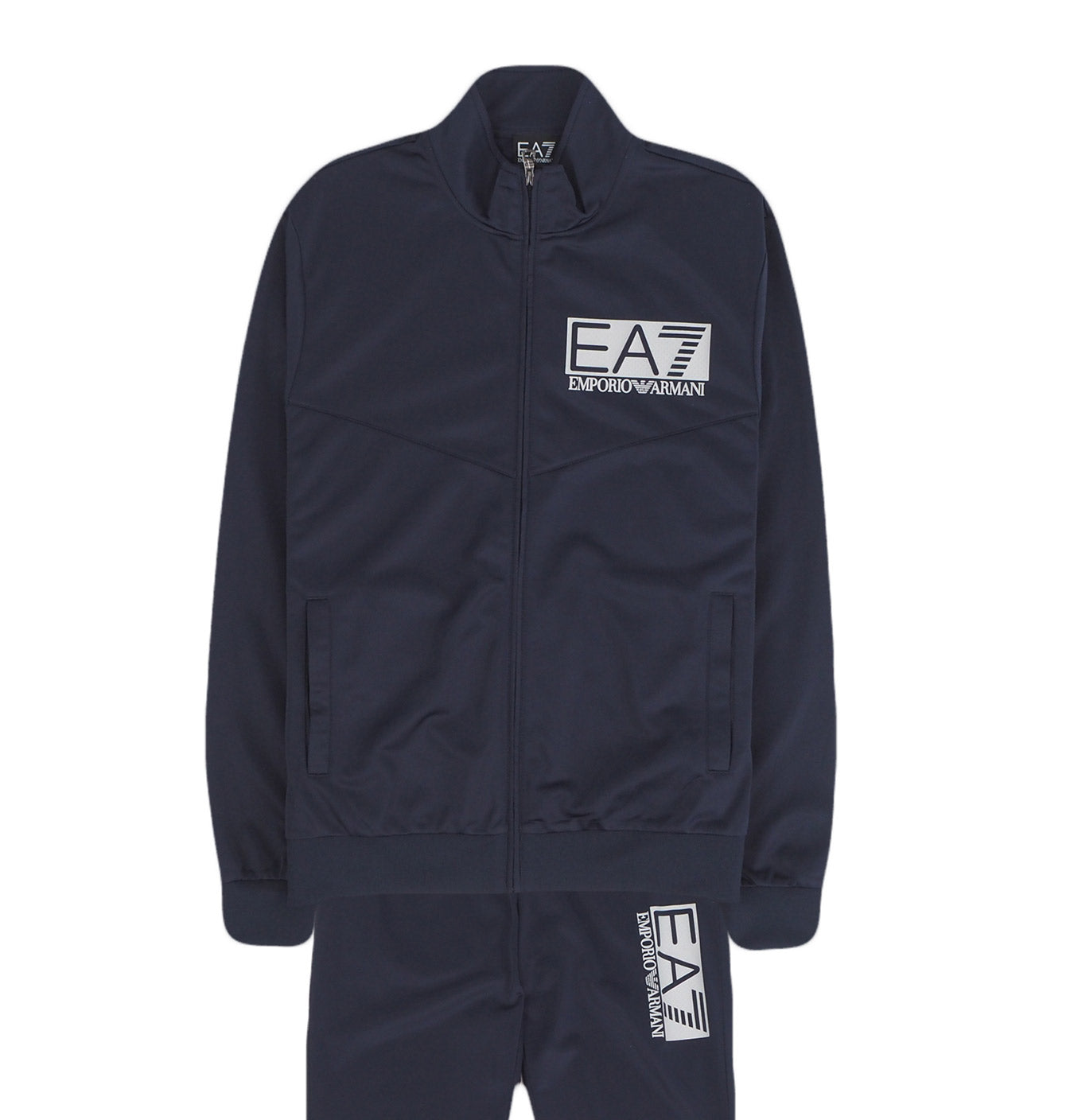 Image of   EA7 White Logo Tracksuit Dark Blue