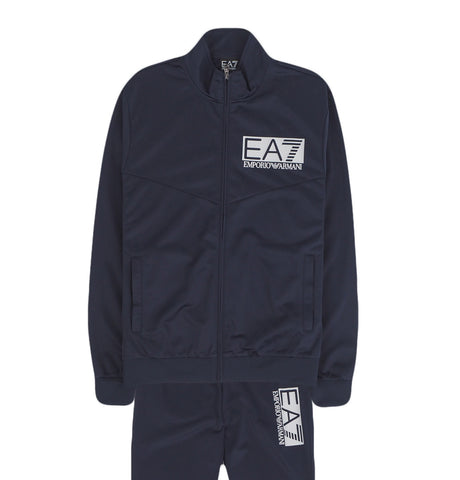 EA7 White Logo Tracksuit Dark Blue