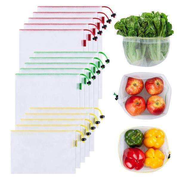 15 PC Reusable Washable See-Through Mesh Eco-Friendly Produce Bags