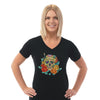 Floral Skull 03 - Ladies V Neck Tee