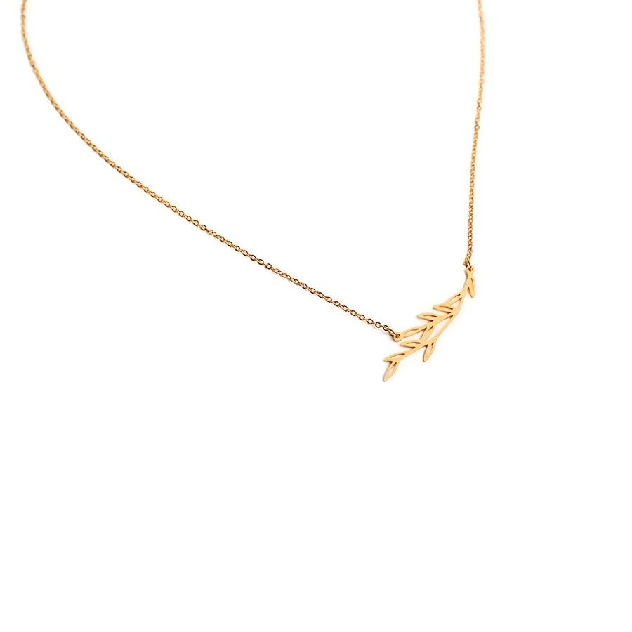 Maple Minimalist Matte Gold Necklace - Gung Jewellery