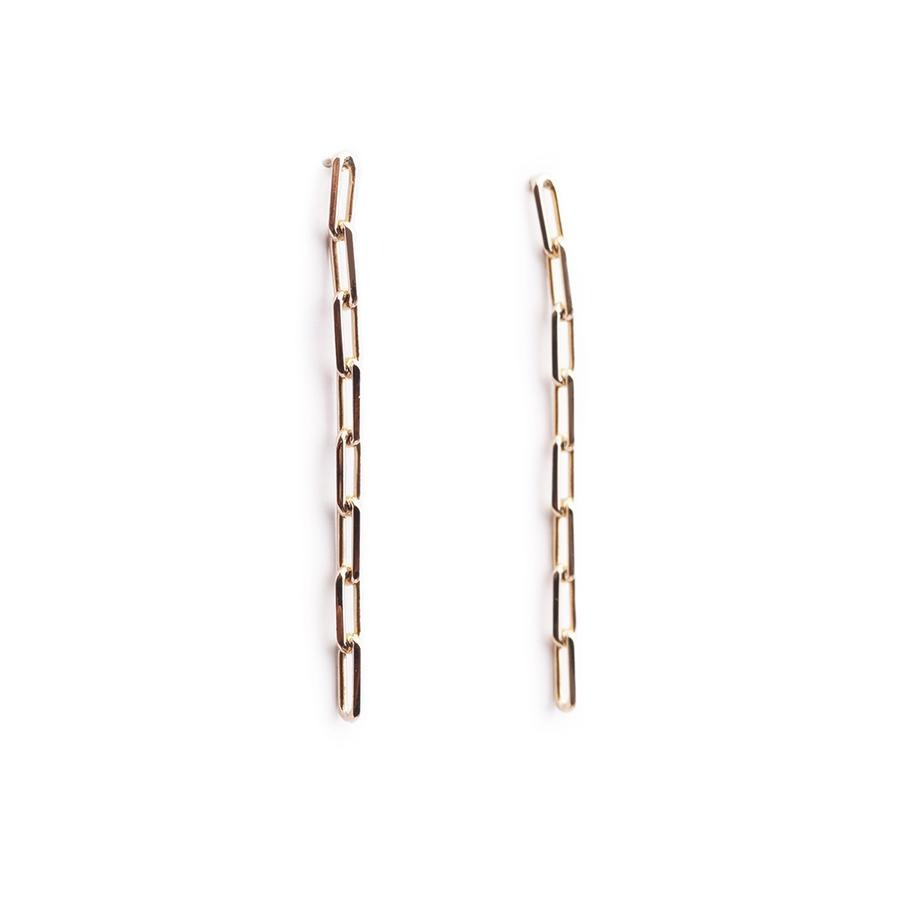 Theo Long Chain Gold Earrings - Gung Jewellery