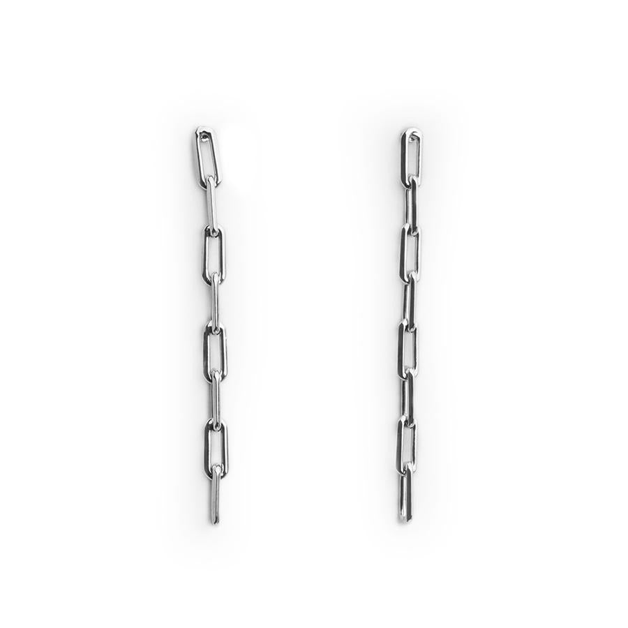Theo Long Chain Silver Earrings