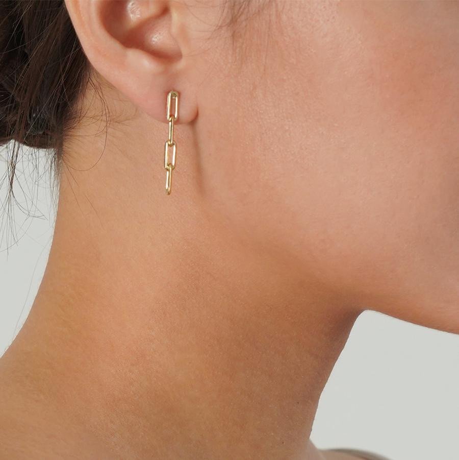 Theo Short Chain Gold Earrings - Gung Jewellery