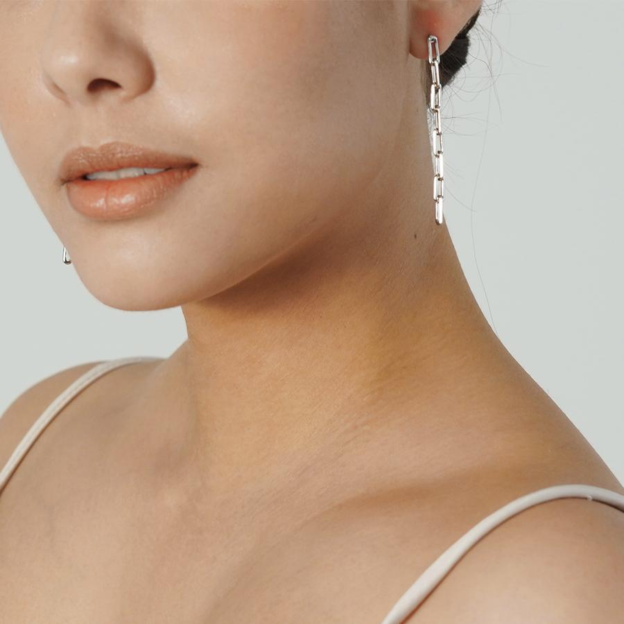 Theo Long Chain Silver Earrings - Gung Jewellery
