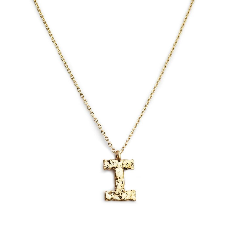 Matte Gold Letter with Plain Necklace - Gung Jewellery