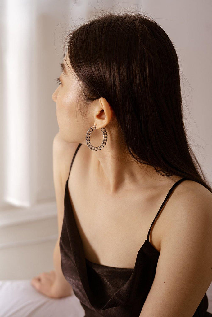 Chain Hoop Silver Earrings - Gung Jewellery
