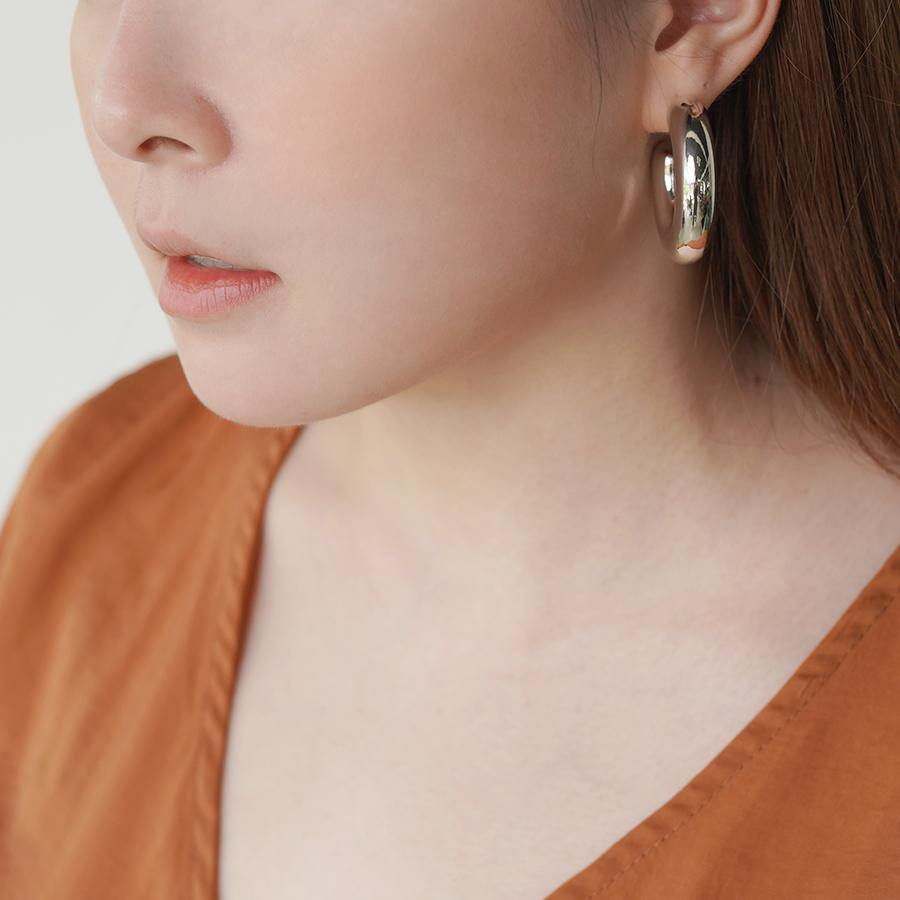 Chunky Hoop Silver Earrings - Gung Jewellery
