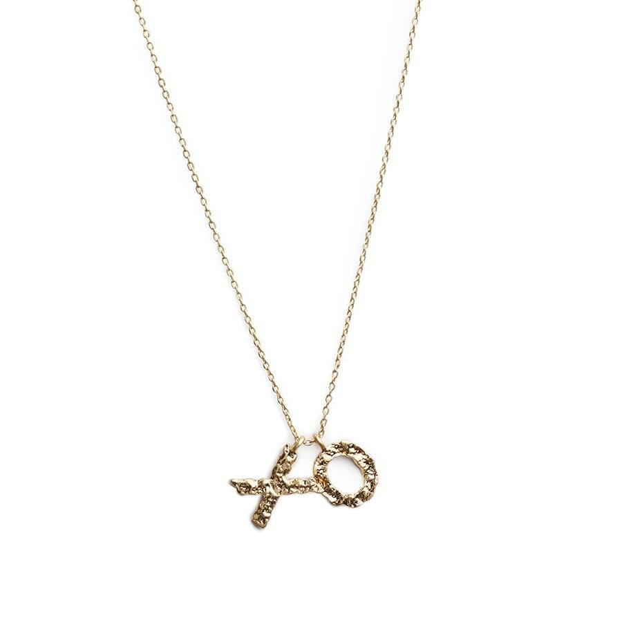 Double Matte Gold Letter Necklace - Gung Jewellery
