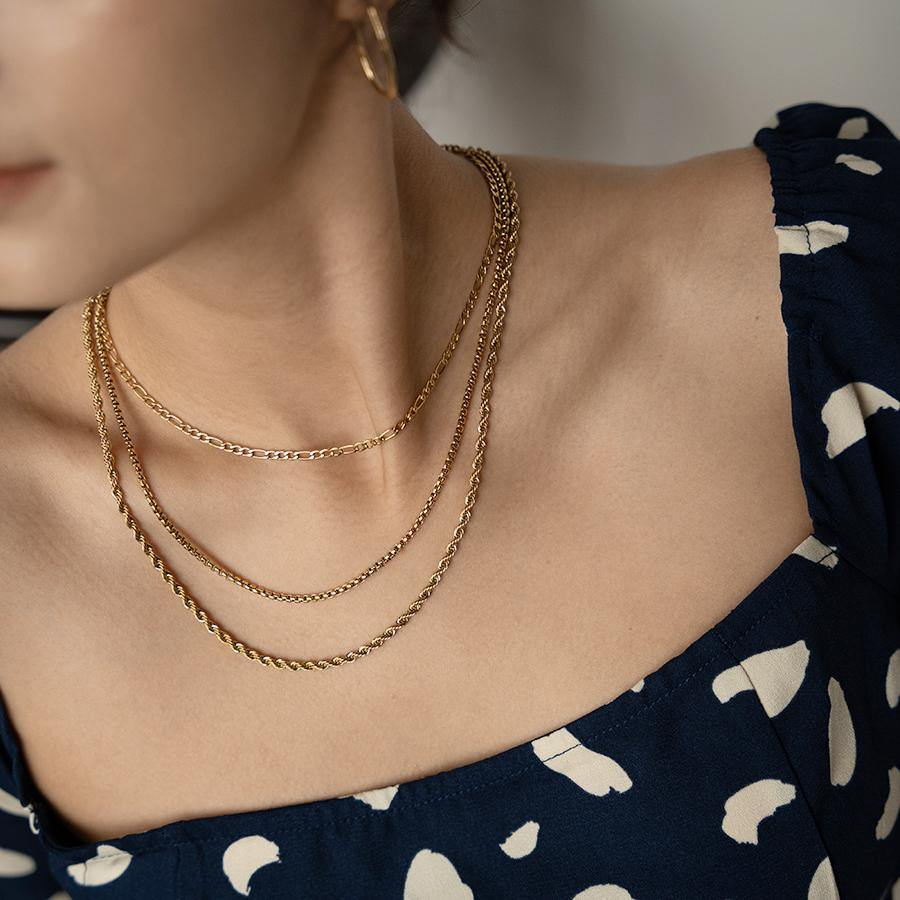 Zep Thin Gold Rope Chain Necklace