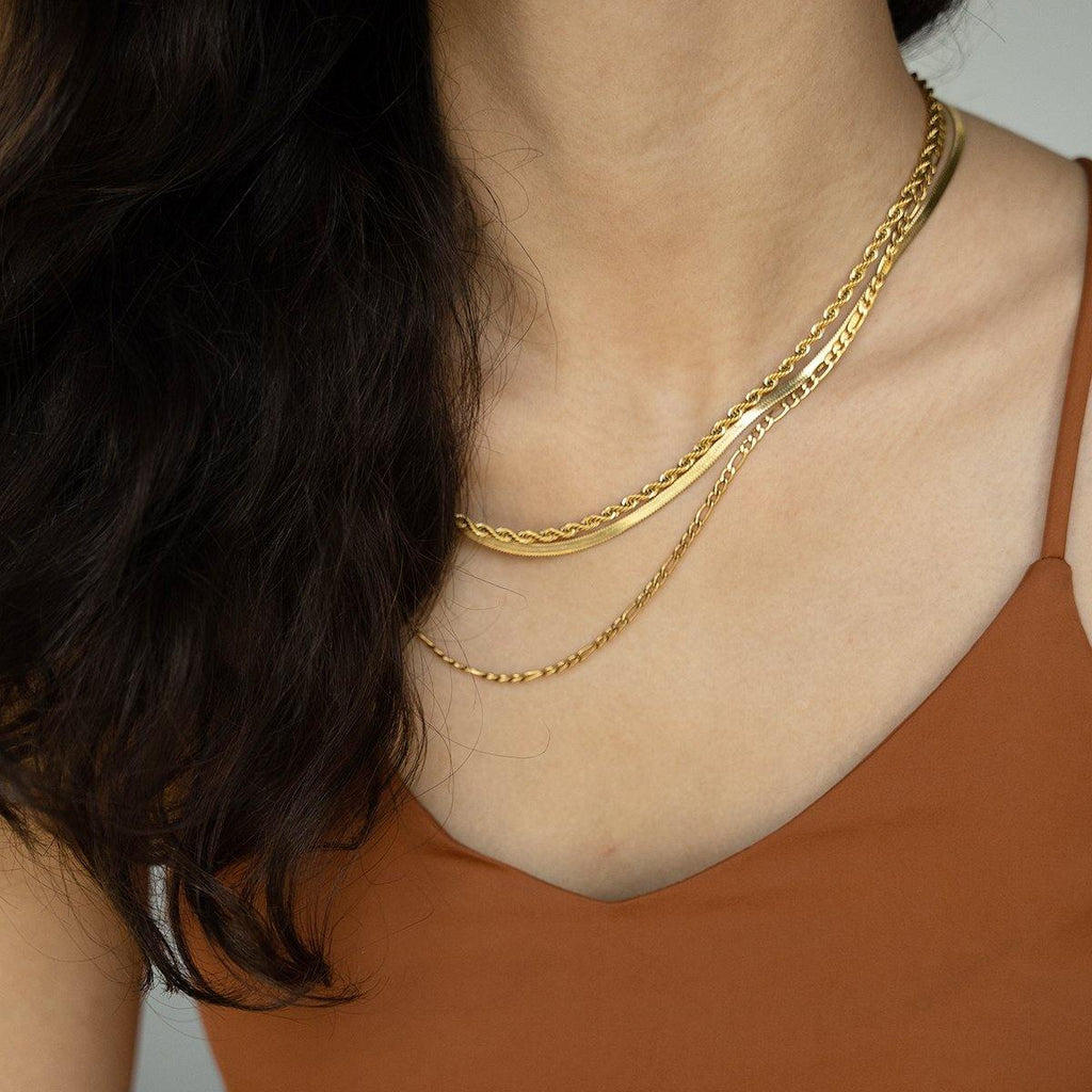 Herringbone Flat Thin Gold Chain Necklace