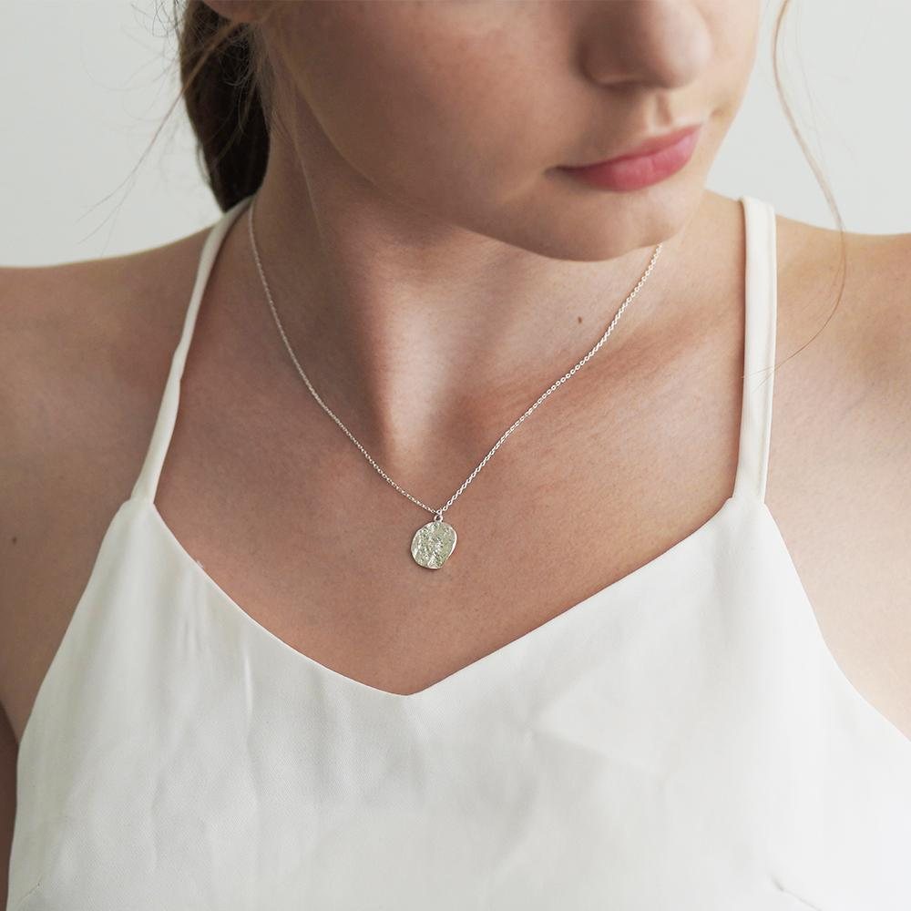 Kay Matte Silver Round Pendant Necklace - Gung Jewellery
