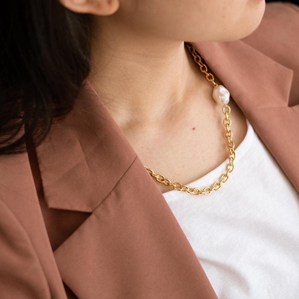 Oda Pearl Gold Chain Necklace - Gung Jewellery