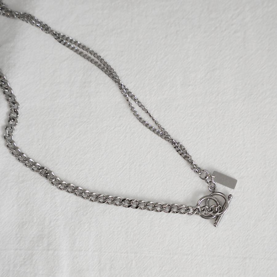 Ola Double Silver Chain Necklace