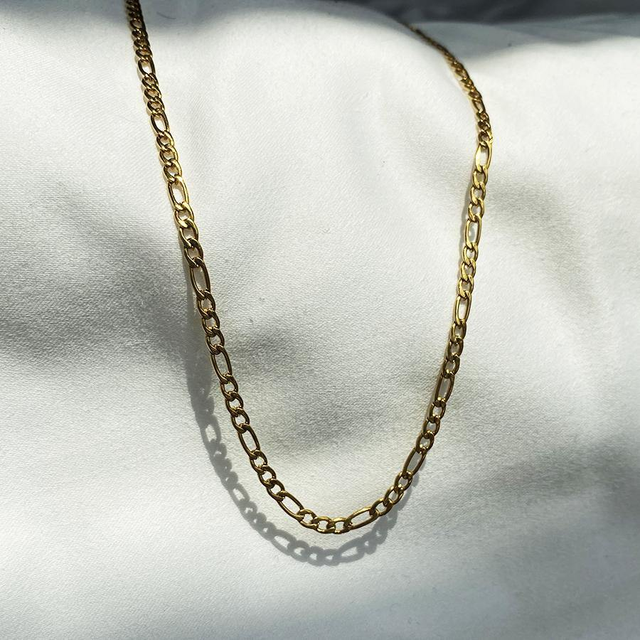Wande Thin Gold Figaro Face Mask Chain / Necklace