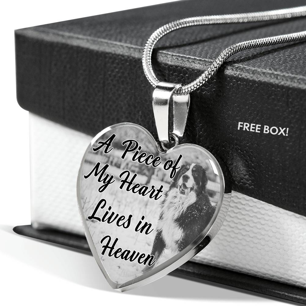 Bernese Mountain Dog Memorial A piece of my heart lives in heaven Personalized Name Engraved Remembrance Gift Necklace