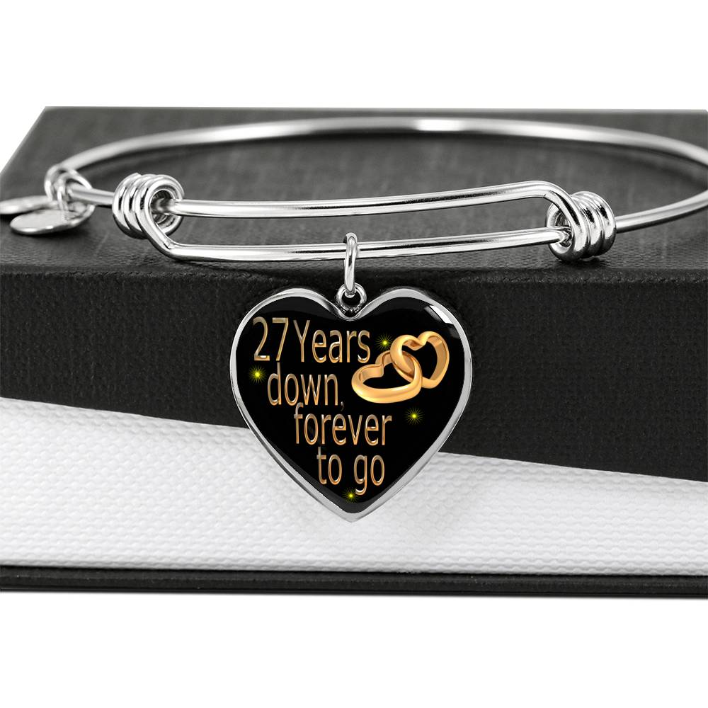 27 Year Wedding Anniversary Gift Bangle For Wife With Custom Engraving Option