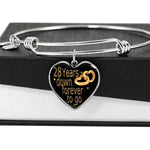 28 Year Wedding Anniversary Gift Bangle For Wife With Custom Engraving Option