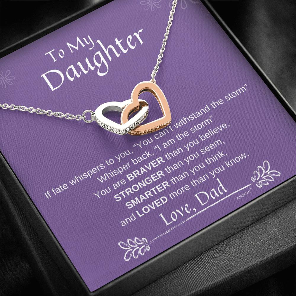 To My Daughter Heart Necklace From Dad