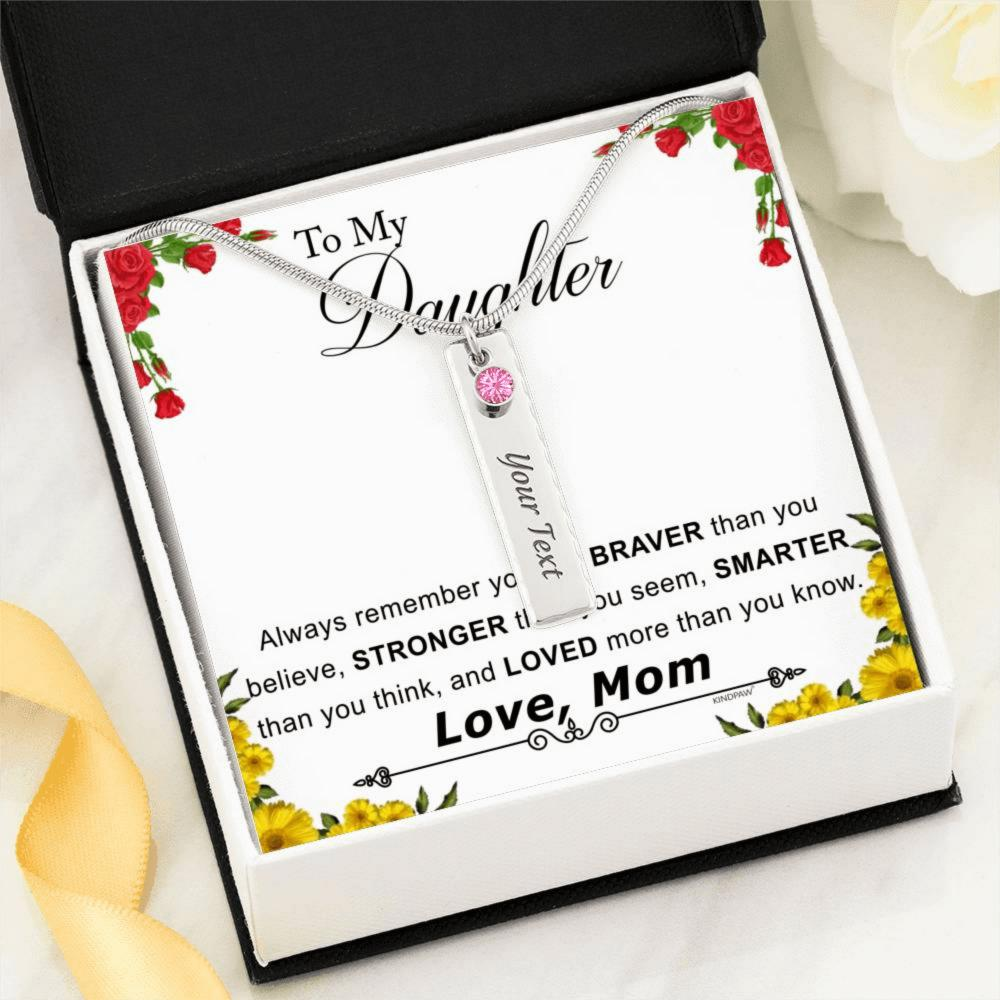 October birthstone necklace for daughter from Mom  - You are BRAVER than you BELIEVE – Tourmaline Birthstone Name Necklace for Daughter