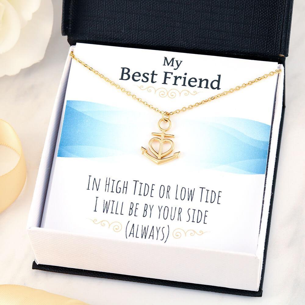 Best friend gifts, In high tide or low tide, I will be by your side gift Necklace