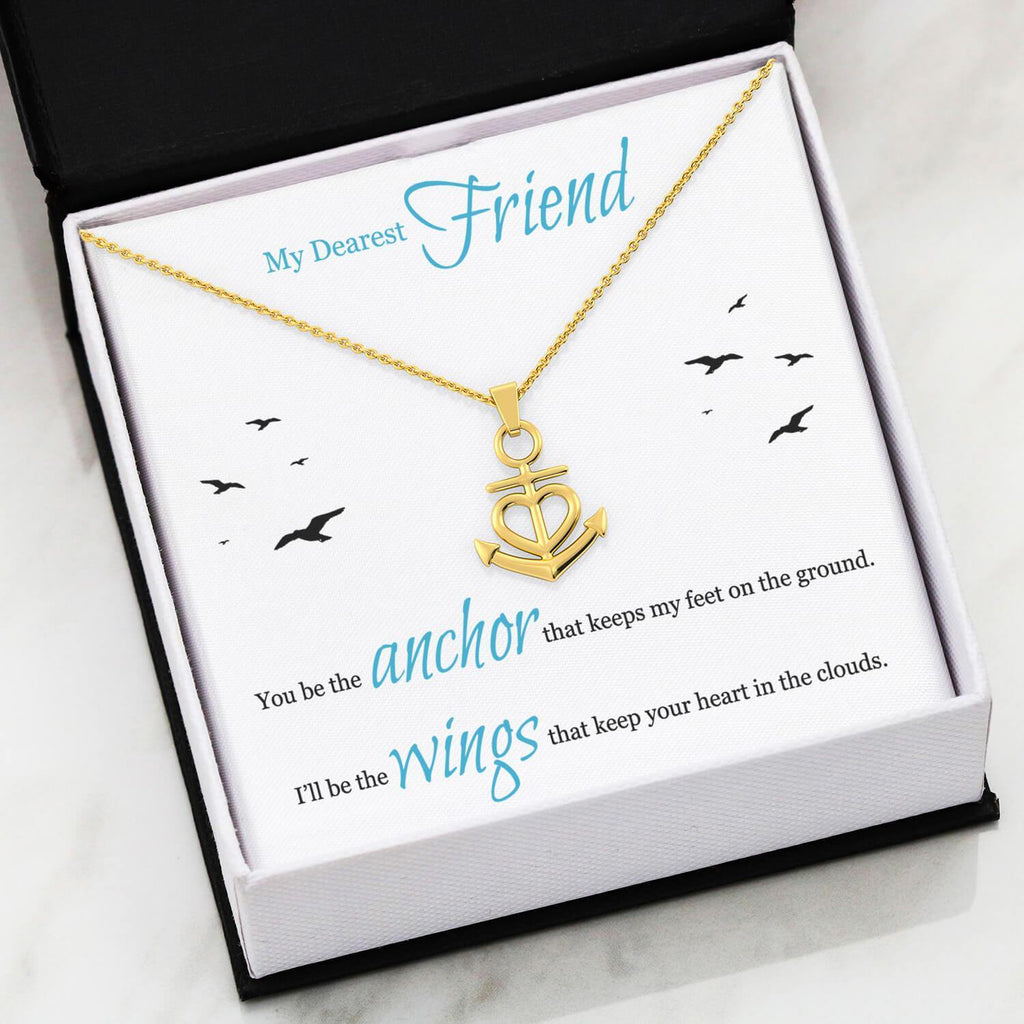Best friend gifts, You Be The Anchor That Keeps My Feet On The Ground, I'll Be The Wings That Keep Your Heart In The Clouds gift Necklace