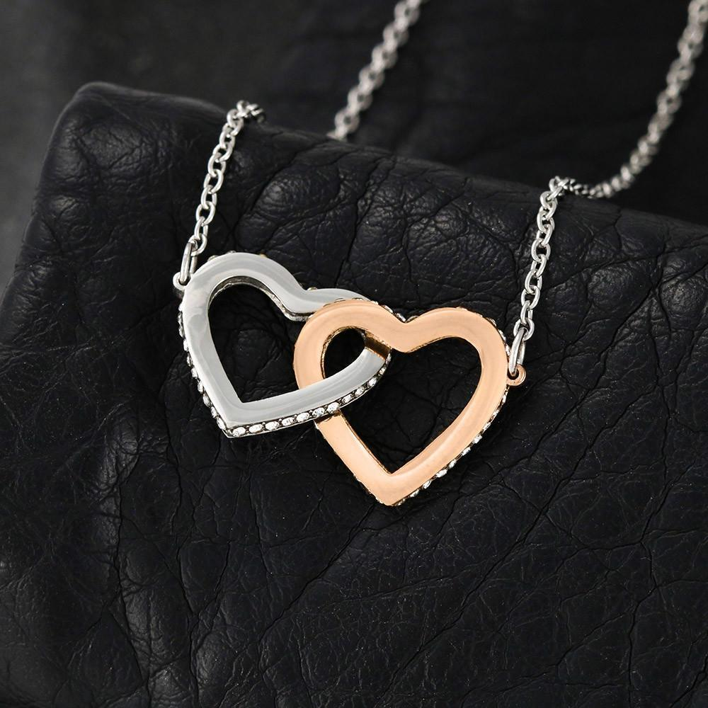 Birthday gifts for mom from daughter - Thank you for every hug - interlocking heart necklace for mother