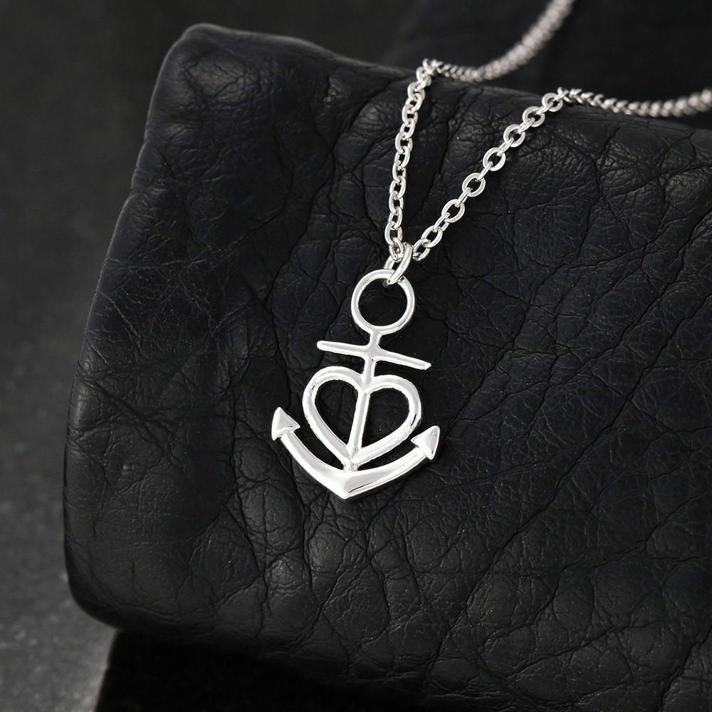 Birthday gifts for mom from son - Thank you for every hug – Anchor Pendant necklace for mother