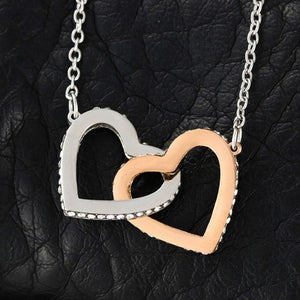 Birthday gifts for mom from son - Thank you for laughing with us in the best of times - interlocking heart necklace for mother