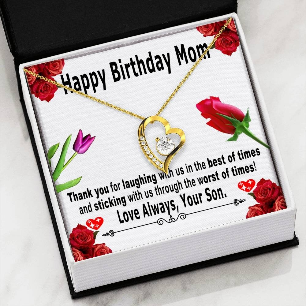 Birthday gifts for mom from son - Thank you for laughing with us in the best of times – Love shaped heart necklace for mother